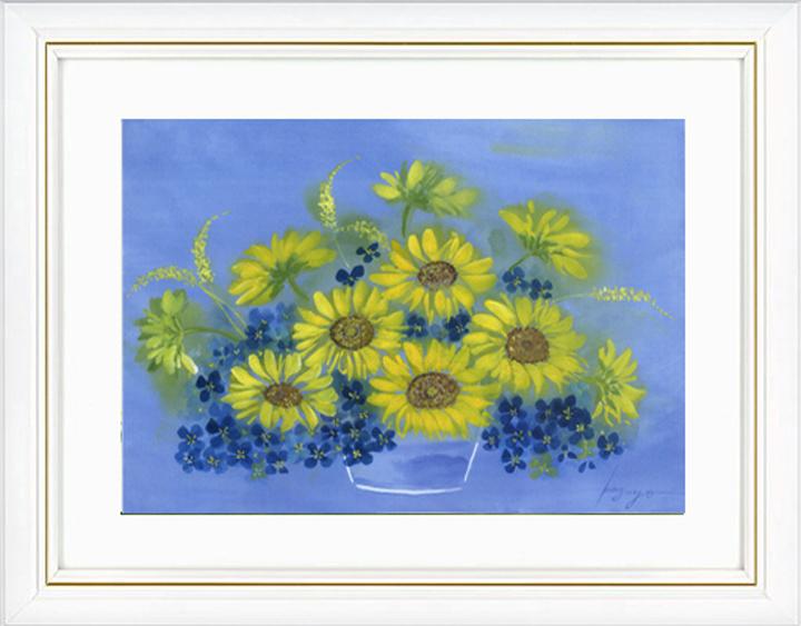 花風水の代表格ヒマワリ・オンリーワン風水花の開運画です。