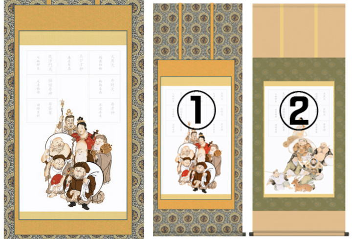 京と七福神掛け軸